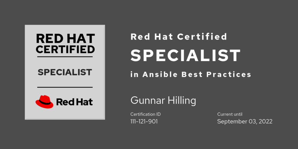 Red Hat Certified Specialist in Ansible Best Practices
