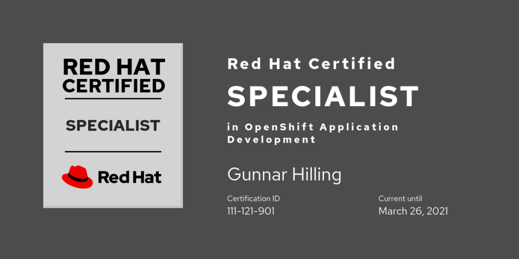 Red Hat Certified Specialist in OpenShift Application Development